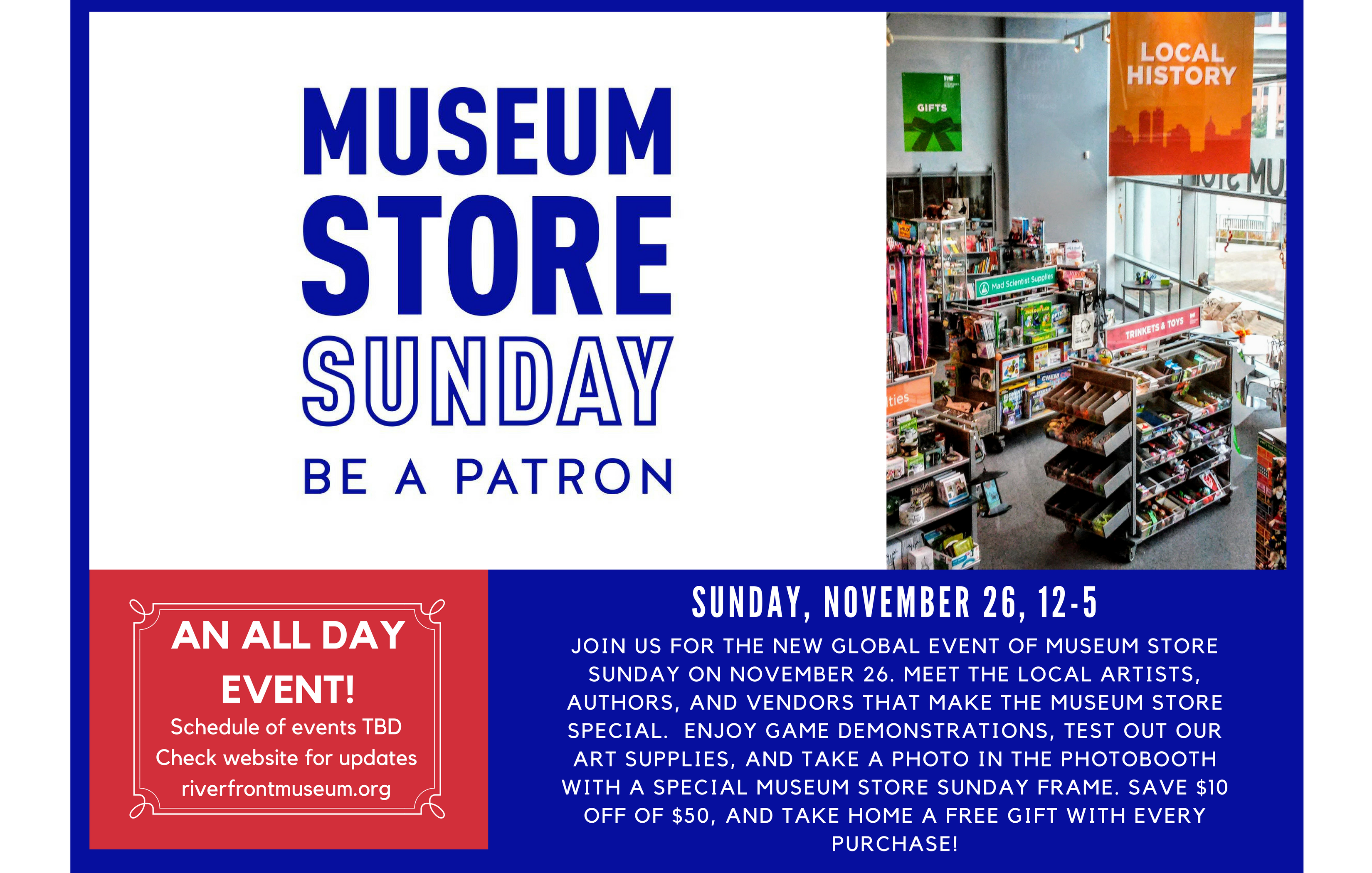 Join Us For The New Global Event Of Museum Store Sunday On November 26. Meet The Local Artists, Authors, And Vendors That Make The Museum Store Special. Enjoy Game Demonstrations, Test Out Our Art Supplies, And T (1)